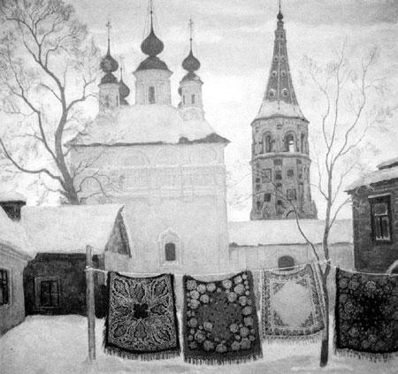 В.Н. Телин. Суздальский дворик. 1980